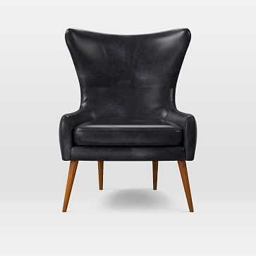 Erik Wing Chair, Charme Leather, Licorice - West Elm