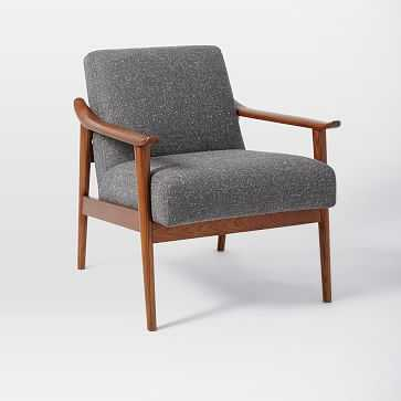 Mid-Century Show Wood Upholstered Chair, Tweed, Salt + Pepper - West Elm