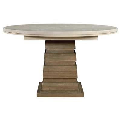 Vivian Modern Classic White Top Brown Wood Round Extendable Dining Table - Kathy Kuo Home