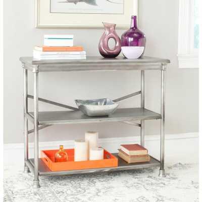 Jacinda Dark Silver Open Bookcase Console - Home Depot