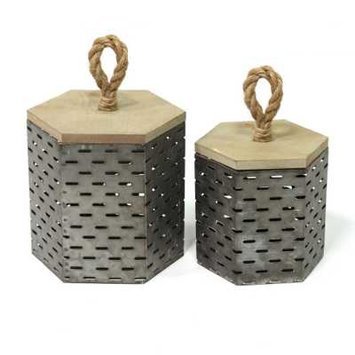Stratton Home Decor Metal Decorative Containers (Set of 2), Multi - Home Depot