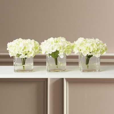 Faux Potted Mini Hydrangea Floral Arrangement in Vase - Birch Lane