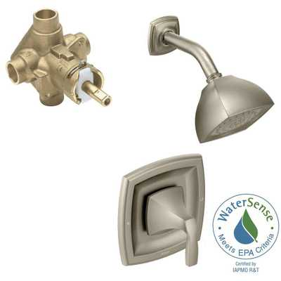 MOEN Voss Single-Handle 1-Spray Shower Faucet Trim Kit with Valve in Brushed Nickel (Valve Included) - Home Depot