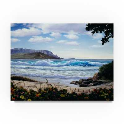 'Floral Beach' Oil Painting Print on Wrapped Canvas - Wayfair