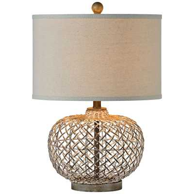 Forty West Reggie Gray Wash Rattan Table Lamp - Style # 73J26 - Lamps Plus