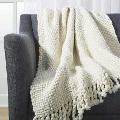 Cozy Weave Ivory Throw - Crate and Barrel