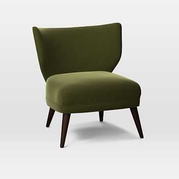 Retro Wing Chair, Distressed Velvet, Olive - West Elm