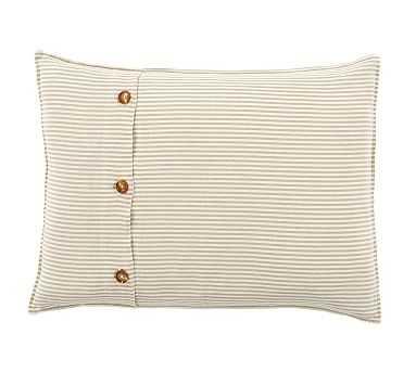 Wheaton Stripe Sham, Standard, Flax - Pottery Barn