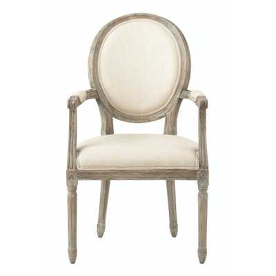 Jacques Antique Brown Natural Linen Dining Chair - Home Depot