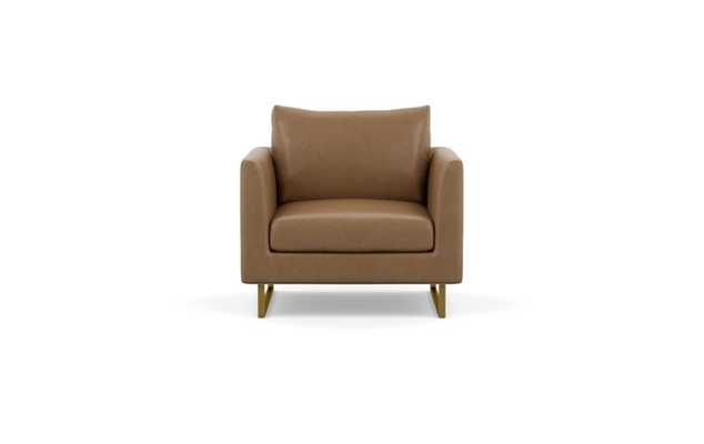 Owens Leather Chairs with Palomino and Matte Brass legs - Interior Define