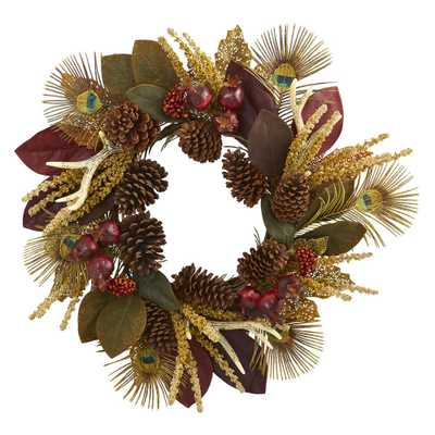 Nearly Natural 27 in. Unlit Artifical Holiday Wreath with Magnolia Leaf, Berry, Antler and Peacock Feather - Home Depot