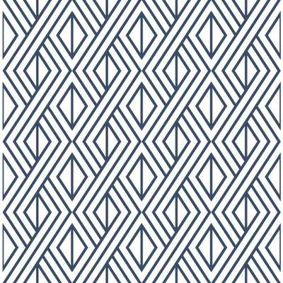 NextWall Navy Diamond Geometric Peel and Stick Wallpaper, Navy & White - Home Depot