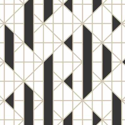 Black and White Linear Removable Wallpaper, Black/White - Home Depot