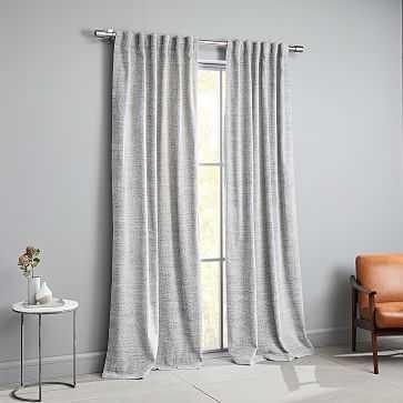 "Distressed Textured Velvet Curtain, Stone White/Black, 48""x96"" - West Elm"