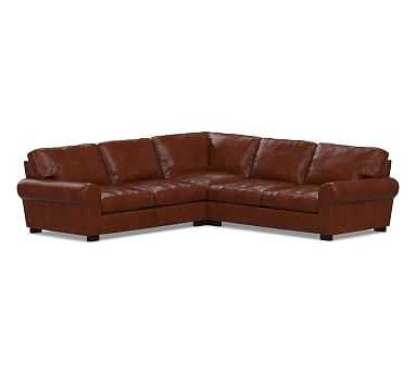 Turner Roll Arm Leather 3-Piece L-Shaped Corner Sectional, Down Blend Wrapped Cushions, Statesville Molasses - Pottery Barn