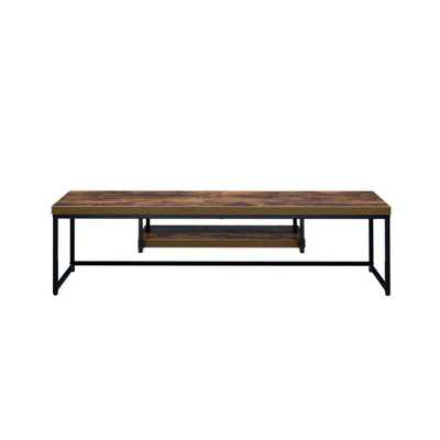 Bob Weathered Oak and Black TV Stand - Home Depot