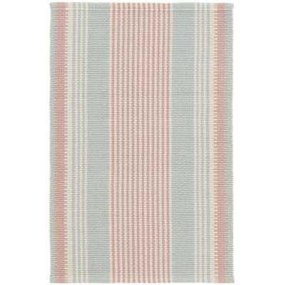 Island Stripe Handwoven Flatweave Cotton Blue/Pink Area Rug - Wayfair