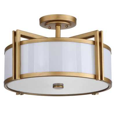 Safavieh Orb 3-Light Antique Gold Semi-Flush Mount Light - Home Depot