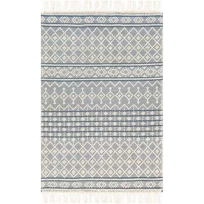 Mayra Global-Inspired Handwoven Flatweave Wool/Cotton Pale Blue/Ivory Area Rug - Wayfair