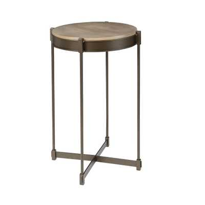 Asher Black and Brown Cross Base End Table - Home Depot