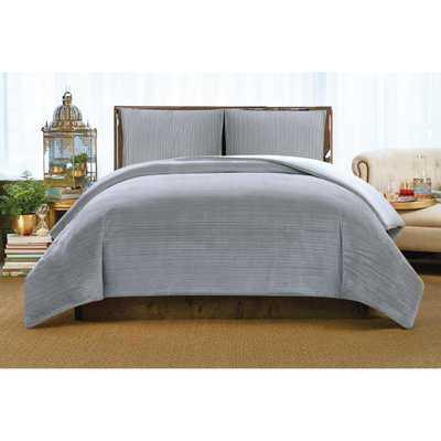 Crinkle Velvet Platinum King Comforter Set - Home Depot
