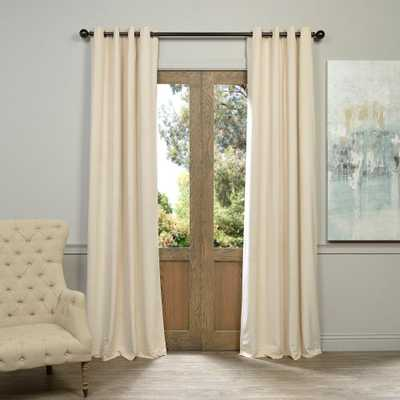 Exclusive Fabrics & Furnishings Blackout Signature Ivory Grommet Blackout Velvet Curtain - 50 in. W x 120 in. L (1 Panel) - Home Depot