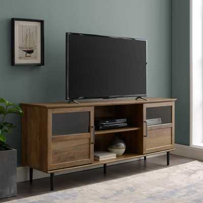 "Welwick Designs 58"" Glass & Wood Split Panel Door TV Console - Reclaimed Barnwood - Home Depot"