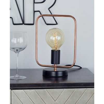 11 in. Rose Gold Square Frame Table Lamp with Bulb - Home Depot