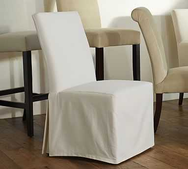 PB Comfort Square Slipcovered Dining Side Chair Long, Performance Twill Warm White - Pottery Barn