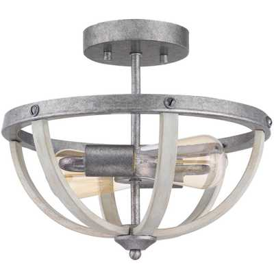 Progress Lighting Keowee 13 in. 2-Light Galvanized Semi-Flush Mount with Antique White Wood Accents - Home Depot