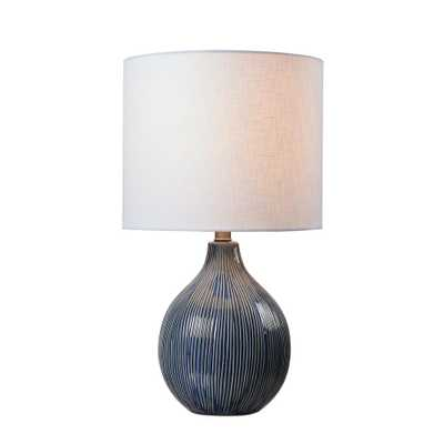 Kenroy Home Intaglio 22 in. Blue Accent Lamp with White Linen Shade - Home Depot