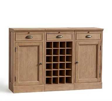 3-Piece Modular Bar Buffet (2 Wood Door Cabinet & 1 Wine Grid Base), Seadrift - Pottery Barn