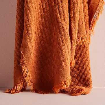 """Waffle Weave Throw, 50""""x60"""", Copper - West Elm"""
