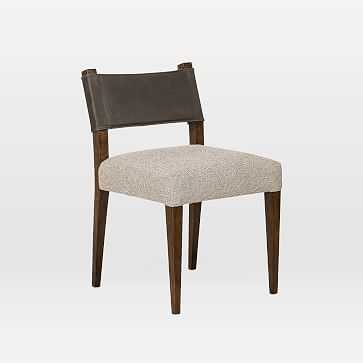 Leather-Backed Upholstered Parawood Dining Chair, Charcoal, Tulsa Ink, Antique Sable - West Elm
