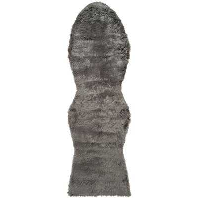 Isacc Faux Sheepskin Grey Area Rug - Wayfair
