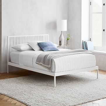 Durham Metal Bed, King, White - West Elm
