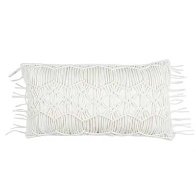 Macram 14 in. x 26 in. Ivory Decorative Filled Pillow, Beige/Ivory - Home Depot