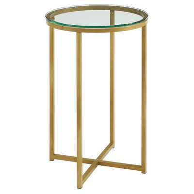 16 Round Side Table - Gold/Glass - Saracina Home - Target
