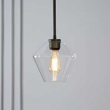 Sculptural Glass Pendant, Small Geo, Clear Shade, Bronze Canopy - West Elm
