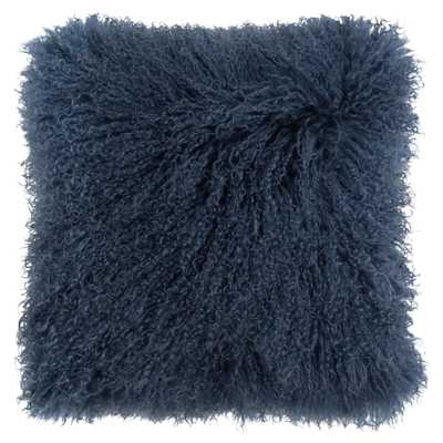 Devi Global Tibetan Textured Wool Navy Blue Pillow - 16x16 - Kathy Kuo Home