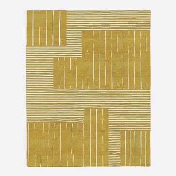 MTO Painted Mixed Stripes Rug, Horseradish, 9x12 - West Elm