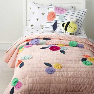 Bee's Knees Floral Applique Full-Queen Quilt - Crate and Barrel