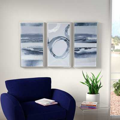'Gray Surrounding' 3 Piece Framed Graphic Art Print Set on Wood - AllModern