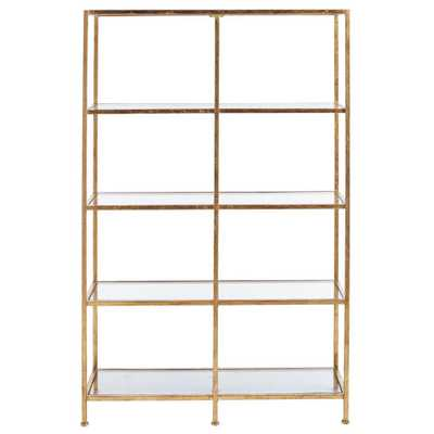 Bella Aged 40 in. Wide Gold Glass Bookcase, Aged Gold - Home Depot