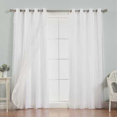 Best Home Fashion 96 in. L uMIXm Dotted Sheer Nordic Curtain Panels in White (4-Pack) - Home Depot