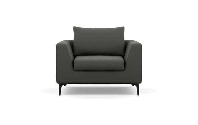 Asher Chairs with Charcoal Fabric and Matte Black legs - Interior Define