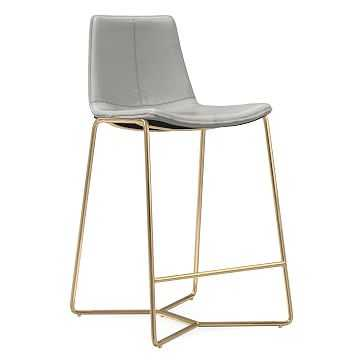 Slope Counter Stool, Leather, Cement, Antique Brass - West Elm