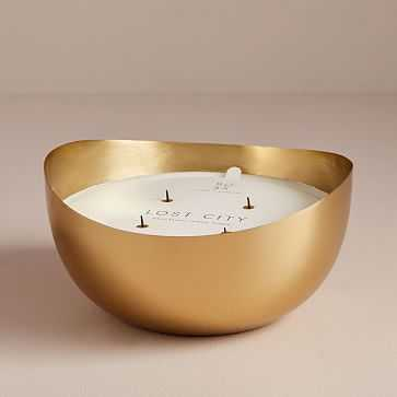 Rove Metal Candle, Gold, Lost City, Palo Santo - West Elm