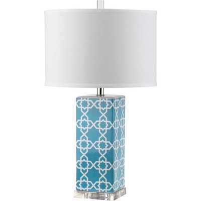 Safavieh Quatrefoil 27 in. Light Blue Table Lamp with White Shade - Home Depot