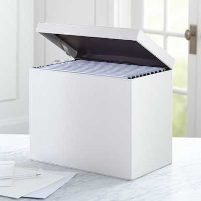 Agency Ivory/Chocolate Hanging File Box - Crate and Barrel